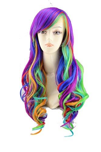 Bllomsem Cosplay Perücke Bunte gewellte lange Regenbogen Perücke Haar für Frauen Lady