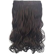 Frcolor 1 Pack 4.3 Cabeza rizada llena de onda sintética clip en extensiones de cabello postizos 5 clips para las mujeres (Dark Brown - 2/33)