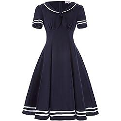 Vestidos vintage de rockabilly de la década de 1950 vestido casual damas vestidos elegantes BP266-1 L