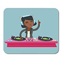 Deglogse Gaming Mouse Pad Mat, Young African American Dj Mixing Music on Vinyl Turntables Playing The Track and Deck in Headphones at Mouse Pad,Desktop Computers