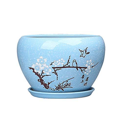 Fuudear Mode Einfache Chinesische Sukkulente Keramik Blumentopf Familie Indoor Und Outdoor Pflanze Pflanzen Drainage Blumenschmuck Carving Handwerk Blumentopf (Größe : M)