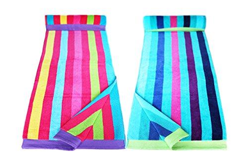 Restmor Strandtücher 100% Baumwolle - 2 Stück für Sie & Ihn - Multi-Streifen Blau & Multi-Streifen Pink