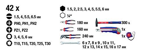 kwb Werkzeugkoffer 370731 (42-teiliger Inhalt, GS geprüft, ideal für den ambitionierten Hausgebrauch im praktischen Kunststoffkoffer) - 4