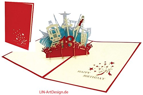 Lin Pop Up Cartes de vœux Anniversaire 18 gebur Rot