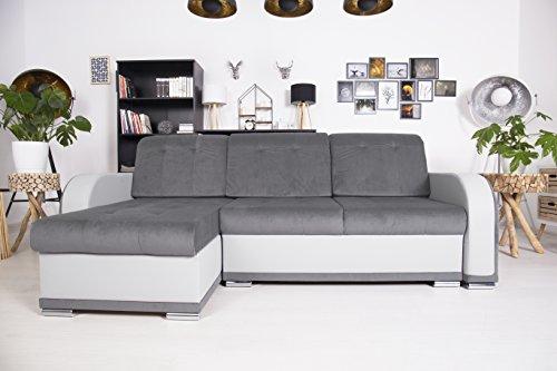 Selsey Trinity – Ecksofa/Couch / Wohnlandschaft/Polsterecke in Grau/Weiß / ausziehbar mit Schlaffunktion/inklusive Bettkästen/freistehend Schlafsofa, Stoff, 243 x 140 x 90 cm