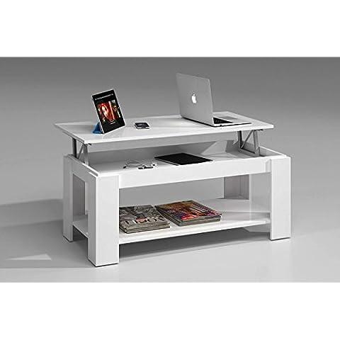 Mesa de centro sistema elevable color blanco brillo con revistero de 100 cm, mesita de cafe