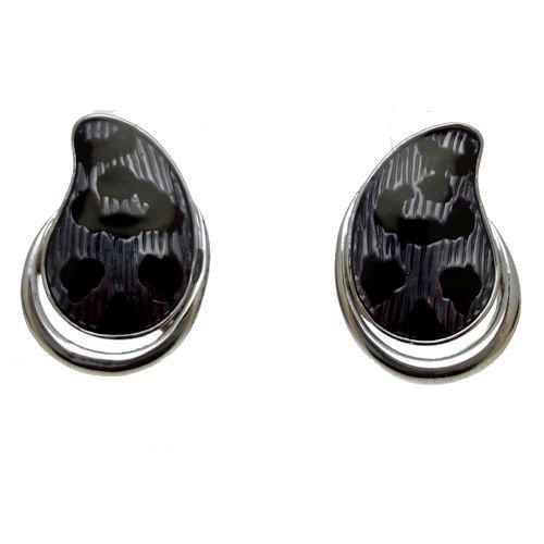 Ohrringe versilbert Emaille Blau Navy Leopardenmuster (Silberton) - inklusive Geschenkbeutel