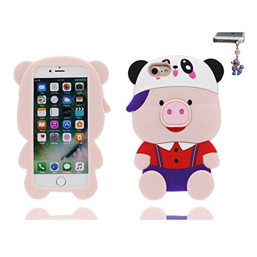 iPhone 7 Custodia, iPhone 7 Copertura 4.7, [ durevole Case Cartoon 3D Cover maiale, orso bear Cap ] + tappi antipolvere con Cartoon [ evidente Pig ], Anti-Shock Dirty # 2