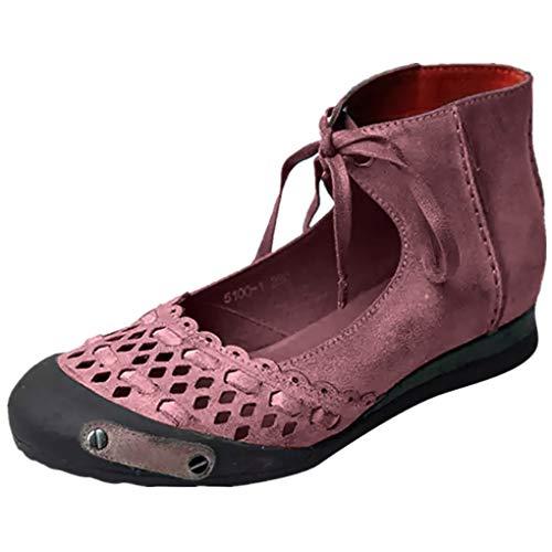 Retro Sandals für Frauen/Dorical Damen Round Toe Casual Knöchelriemen Hallow Sommer Classic Sandalen Schuhe Hausschuhe Mode Flache Schuhe Sommerschuhe Größe 35-43(Lila,38 EU)