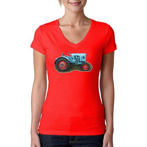 Im-Shirt Traktoren Girlie V-Neck Traktor Eicher by Rot XL