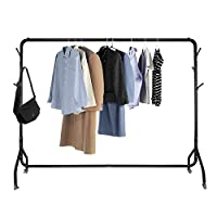 Voilamart Metal Clothes Rail 6FT Heavy Duty Garment Hanging Display Rack Commercial Clothes Stand on Wheels Lockable, 6 Hooks for Handbag Scarf (Black)