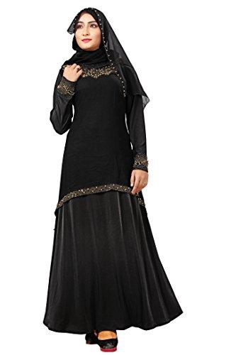 Justkartit Chiffon Shrug Style + Beads Work Stretchable Abaya Burkha (Eid Special...