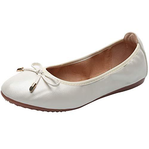 rismart Damen Tanzen Schlüpfen Wohnung Bowknot Elegant Weich Ballerinas Schuhe SN02829(Weiß,EU36) (Wohnungen Hochzeit Ballett)