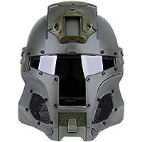 Mecotech Casco Táctico con Máscara y Gafas de Protección para Paintball, Combate, Airsoft Mascara Completa (Verde)