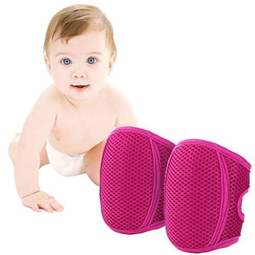 Knieschoner Baby Krabbeln, Kleinkind Knie Kriechende Schutz Anti-Rutsch Gummipunkte Verstellbarer Protektoren,Rot
