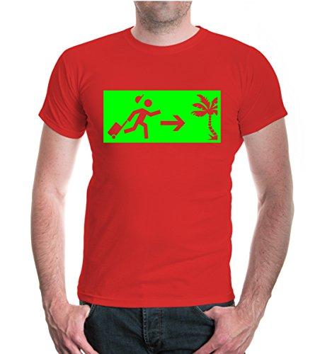 buXsbaum® T-Shirt Vacation Time Red-Neongreen
