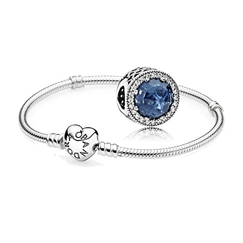 Original-Pandora-Geschenkset-1-Silber-Armband-mit-Herz-Schliee-590719-und-1-Silber-Charm-Mitternachtsblauer-Strahlenkranz-der-Herzen-791725NMB