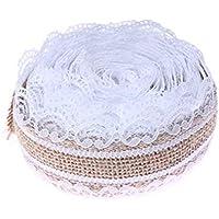 Gespout 20 Pcs Blanc Dentelle Jute Maison de Cordon en Jute Artisanat Ruban Encreur DIY Dentelle Lin pour Mariage Fête Vacances Cérémonie Décor (2.5 * 200 cm)