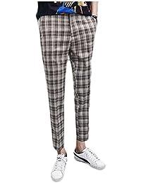 Gocgt Men Stylish Plaid Cotton Linen Slim Elastic Waist Leisure Pants
