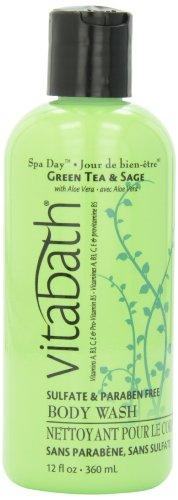 Vitabath Bath and Shower Gel, Green Tea and Sage, 12 Ounce by Vitabath (Vitabath Gelee)