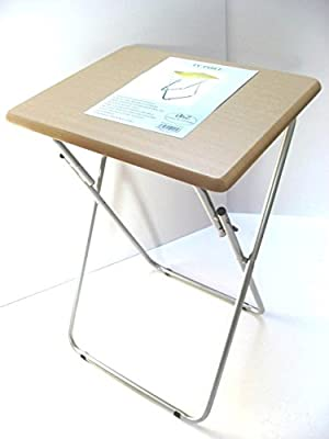 Large Folding Foldable TV Table Tea Coffee Occasional Bed Side With Metal Legs