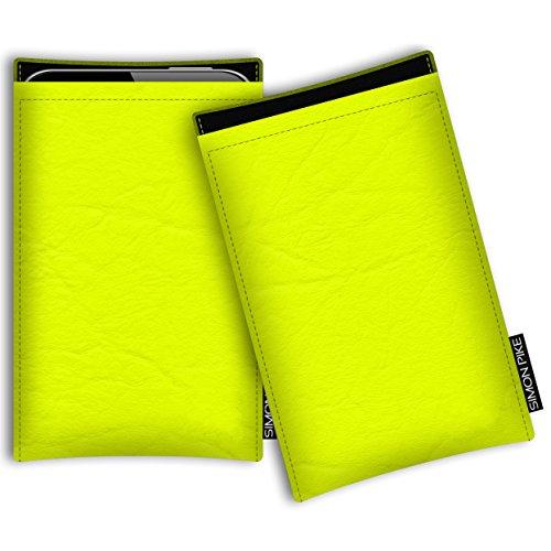 SIMON PIKE Kunstleder Tasche Boston, kompatibel mit Siswoo i7 Cooper, in 01 Neongelb Kunstleder
