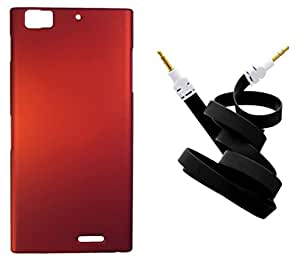 Toppings Hard Case Cover With Aux Cable For Lenovo K900 - Red