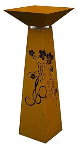 Metallmichl Edelrost Säule Trapez Traubenmuster Höhe 116,5 cm inkl. Schale Rostsäule für den Garten, Pflanzsäule