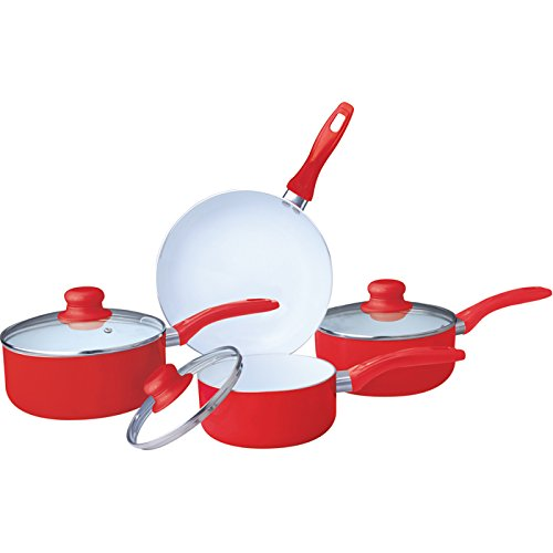 COOKWARE SET SAUCEPAN FRYING PAN POT STAINLESS STEEL NON STICK GLASS CERAMIC NEW (7PC CERAMIC COATED RED)