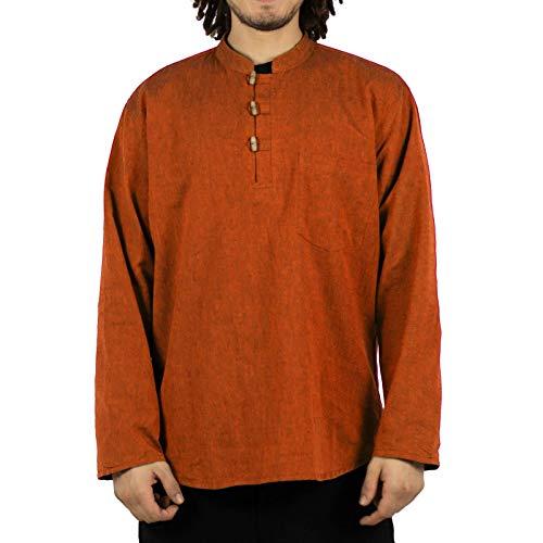 KUNST UND MAGIE Herren Fischerhemden bequemer Schnitt Klassische Farben in verschiedenen Größen, Größe:3XL, Farbe:orangetöne