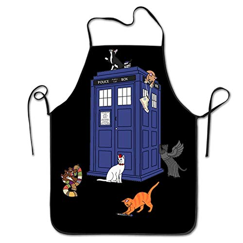 Junzhilin Shop Doctor Who Cats Easy Clean BBQ Chef Kitchen Bib Aprons