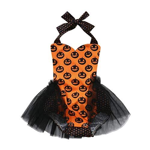 Elecenty Kaninchenohr Strampler,Halloween Pumpkin Romper Jumpsuit Babyartikel Kinderkleidung Mädchen Kapuzenpullover Babyklamotten Kindermode Wickelbody