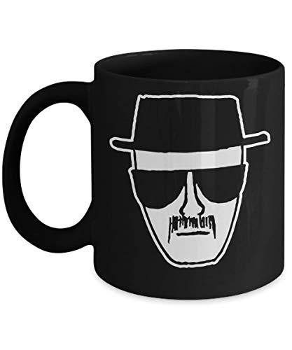 Heisenberg Coffee Mug Cup (Black) 11oz Breaking Bad Hat and Glasses Heisenberg Walter White jesse Pinkman Cook Gift Merchandise Accessories Shirt Post