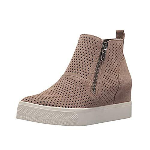 f979f9d11c846 Sneakers Donna Zeppa Platform Stivaletti con Tacco Alte 5Cm Pelle Mocassini  Eleg
