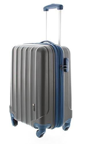 100% ABS Hartschalen Koffer / Trolley mit 4 Rollen und Zahlenschloss 3 Farben, Pianeta Serie Ibiza (M (55cm), Anthrazit)