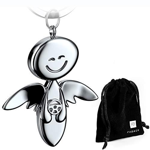 FABACH Schutzengel Schlüsselanhänger Smile mit Lenkrad - Edler Engel Anhänger aus Metall in glänzendem Silber - Geschenk Glücksbringer Auto Führerschein - Fahr vorsichtig