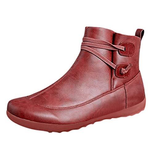 Dorical Stiefeletten für Damen,Frauen Mädchen Flach Kunstleder Kurzschaft Herbst Mode Vintage Boots Sport Style Damenstiefel Gr 35-43(Rot-Slip on,36 EU)