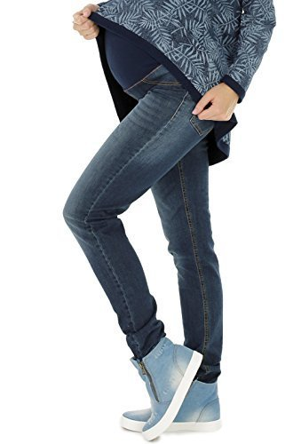 NITIS Pantalones para embarazada Maternidad Vaqueros Stephanie Pantalones De Maternidad Pantalón De Mujer Recto (32L & 36L) - Denim Azul, L (Herstellergröße: 40/32L)