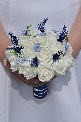 Artificiale Avorio Rosa e Blu Daisy sposa Bouquet W/Heather