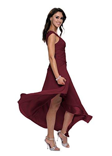 Astrapahl Damen Cocktail Kleid mit schönen Raffungen, Knielang Rot (Weinrot)