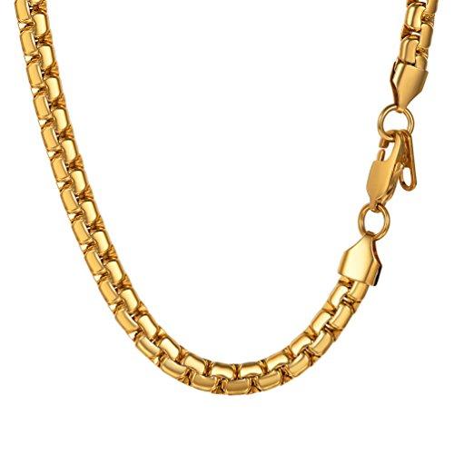 PROSTEEL Halskette Hochwertig Edelstahl Venezianierkette Box Kette 6MM Breite Herren Kette mit Karabinerverschluss, 51CM lang, Gold