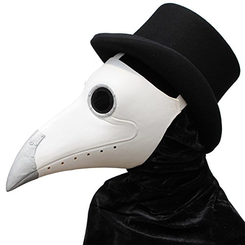 PartyCostume - Weiße Pest Arzt Maske - Lange Nase Vogel Schnabel Steampunk Halloween Kostüm Requisiten ()