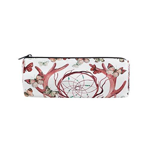 Ahomy - Estuche con cremallera para lápices, diseño de calavera de ciervo, mariposa, atrapasueños, bolsa de maquillaje para adolescentes y niños, bolsa de viaje para mujeres