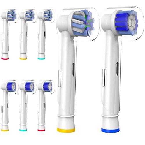 Pennelli sostitutivi 8 pezzi con tappi per spazzolini da denti Oral-B, testine per spazzole pulite di precisione e testine per spazzolino a croce, testina per spazzole, testine per spazzole di ricambio