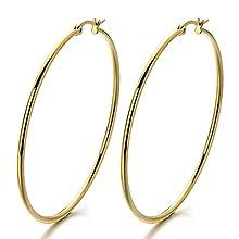 2 Grande Or Plaine Cercle Boucle d'oreille Charnière - Femme Filles Boucles d'oreilles Créoles - Acier Inoxydable