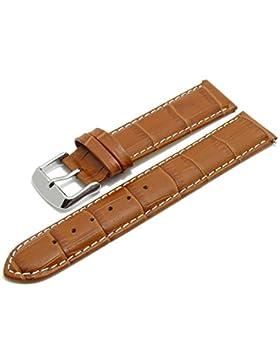 Meyhofer EASY-CLICK Uhrband Marseille 18mm braun Alligator-Prägung weiße Naht My2hesl3013