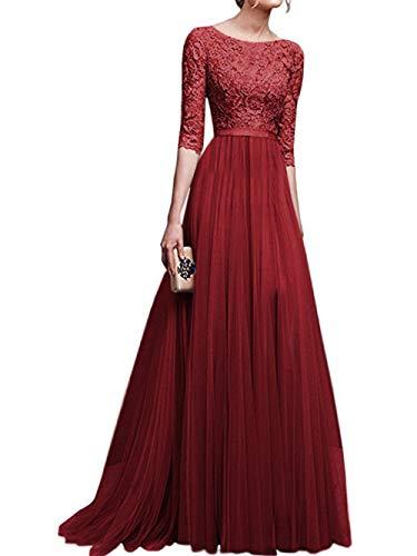 Swallowuk Frauen Chiffon Lang Abendkleid Elegant Brautjungfernkleid mit Spitze 3/4 Ärmel Brautkleid...