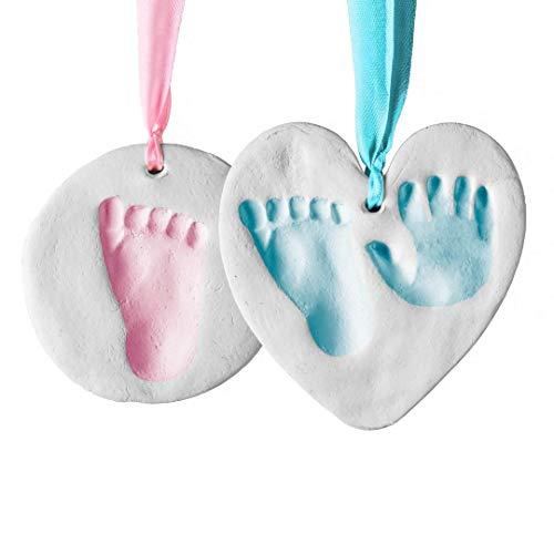 Bubzi Co Baby Handabdruck Fußabdruck Lehm Ornament Set für Neugeborene und Kleinkinder, personalisierte Andenken, Baby Kinderzimmer Dekor, einzigartige Andenken-tolles Baby-Geschenk für Babypartys