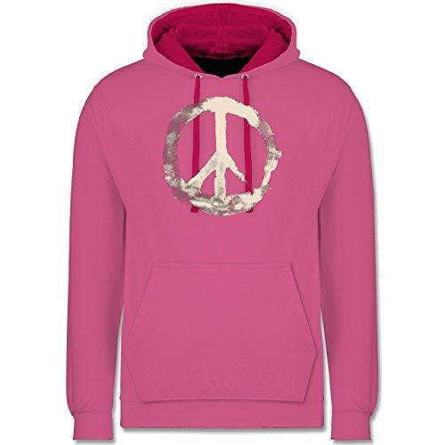 Statement Shirts - Frieden - Peacesymbol weiss - Kontrast Hoodie Rosa/Fuchsia