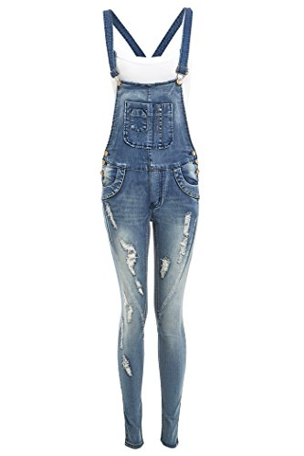 NEW Women's Skinny Stretch Dungarees, Denim Blue, Sizes 8 to 16